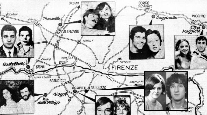"""Tutte le vittime del """"Mostro di Firenze"""""""